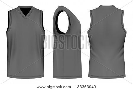 Men sport training sleeveless t-shirt. Vector illustration. Fully editable handmade mesh.