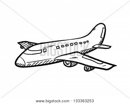Airplane Doodle, a hand drawn vector doodle illustration of an airplane.