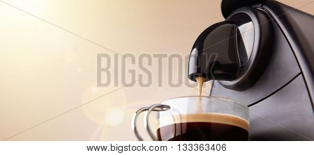 Espresso Machine Making Coffee With Beige Gradient Background
