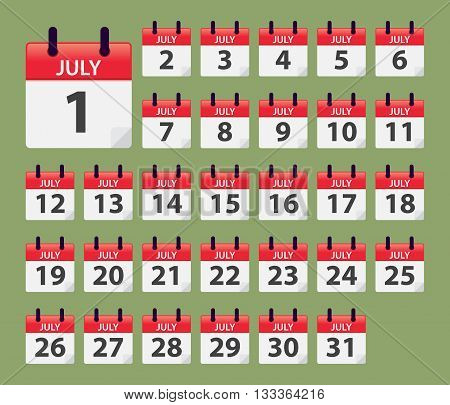 Vector stock of July Daily Calendar template icon collections