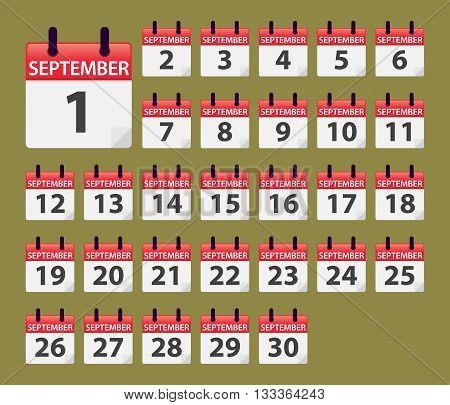 Vector stock of September Daily Calendar template icon collections