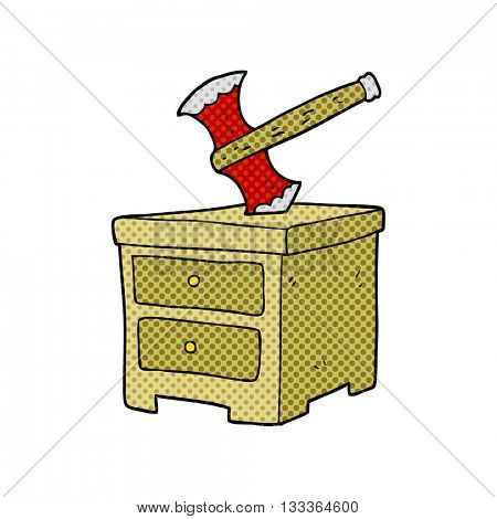 freehand drawn cartoon axe buried in chest of drawers