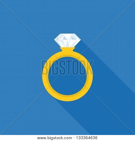 wedding ring icon, ring illustration with long shadow vector, ring with diamond icon, wedding ring flat design vector