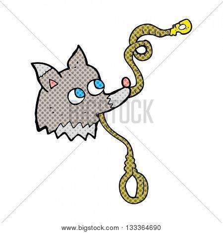 freehand drawn cartoon dog with leash