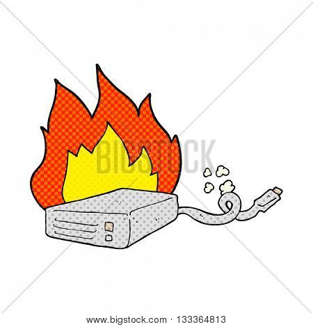 freehand drawn comic book style cartoon computer hard drive burning