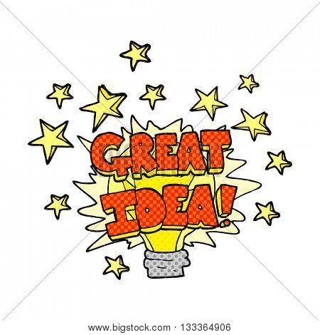 freehand drawn comic book style cartoon great idea light bulb symbol