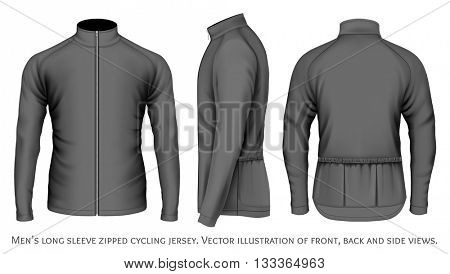 Men's long sleeve cycling jersey. Fully editable handmade mesh. Vector illustration.