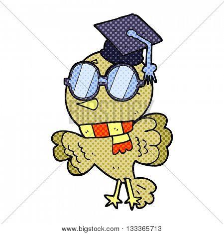 cute freehand drawn comic book style cartoon well educated bird