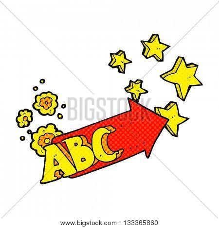 freehand drawn comic book style cartoon ABC symbol