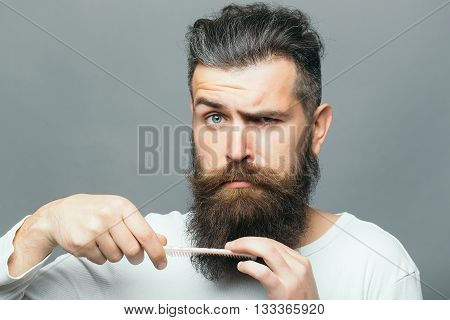 Bearded Man With Hair Brush