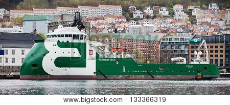 BERGEN, NORWAY - MAY 15, 2012: Bourbon Orca - modern norwegian tugboat at pier in the port of Bergen