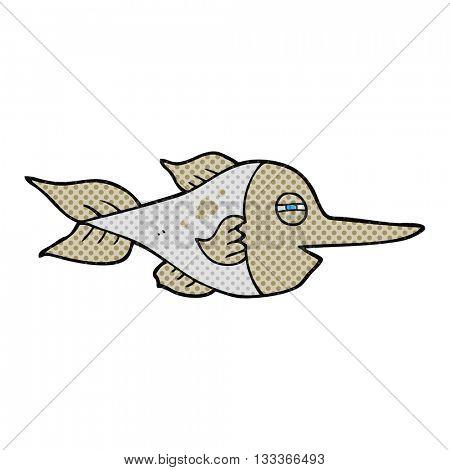 freehand drawn comic book style cartoon swordfish