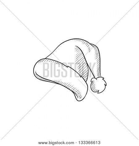 Santa hat vector sketch icon isolated on background. Hand drawn Santa hat icon. Santa hat sketch icon for infographic, website or app.