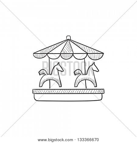 Merry-go-round with horses vector sketch icon isolated on background. Hand drawn Merry-go-round with horses icon. Merry-go-round with horses sketch icon for infographic, website or app.