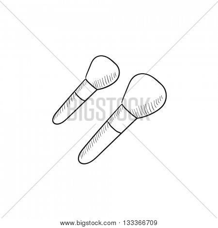 Makeup brushes vector sketch icon isolated on background. Hand drawn Makeup brushes icon. Makeup brushes sketch icon for infographic, website or app.