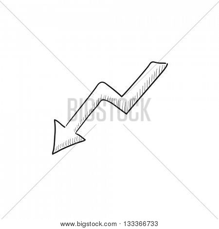Arrow downward vector sketch icon isolated on background. Hand drawn Arrow downward icon. Arrow downward sketch icon for infographic, website or app.