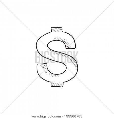 Dollar symbol  vector sketch icon isolated on background. Hand drawn Dollar symbol  icon. Dollar symbol  sketch icon for infographic, website or app.