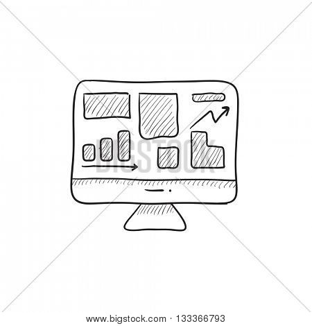 Monitor with business graphs vector sketch icon isolated on background. Hand drawn Monitor with business graphs icon. Monitor with business graphs sketch icon for infographic, website or app.
