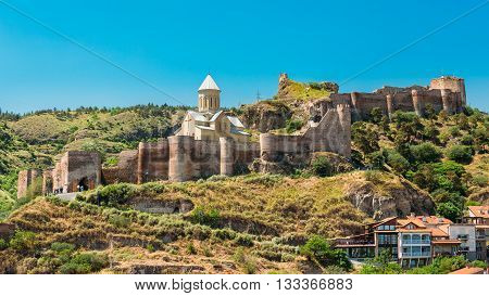 Scenic View Of Impregnable Fortress Narikala Fortress And Church Of St. Nicholas In Tbilisi, Georgia.