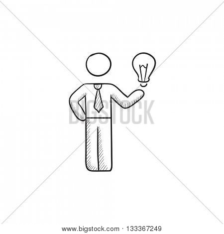 Business idea vector sketch icon isolated on background. Hand drawn Business idea icon. Business idea sketch icon for infographic, website or app.