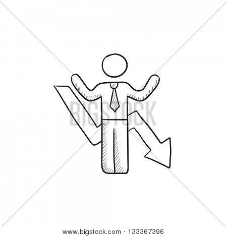 Businessman with arrow down vector sketch icon isolated on background. Hand drawn Businessman with arrow down icon. Businessman with arrow down sketch icon for infographic, website or app.