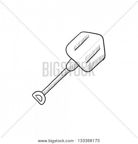 Shovel sketch icon for web, mobile and infographics. Hand drawn shovel icon. Shovel vector icon. Shovel icon isolated on white background.