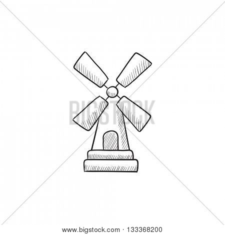 Windmill  vector sketch icon isolated on background. Hand drawn Windmill  icon. Windmill  sketch icon for infographic, website or app.