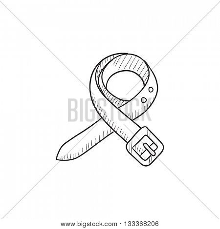 Belt sketch icon for web, mobile and infographics. Hand drawn belt icon. Belt vector icon. Belt icon isolated on white background.