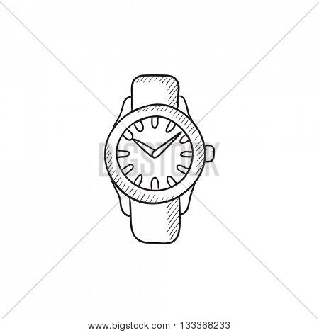 Wrist watch sketch icon for web, mobile and infographics. Hand drawn Wrist watch icon. Wrist watch vector icon. Wrist watch icon isolated on white background.