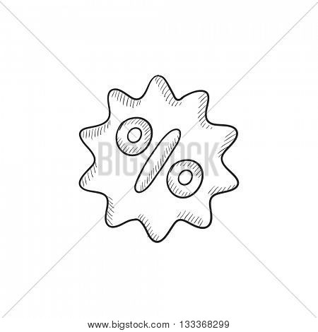 Discount tag vector sketch icon isolated on background. Hand drawn Discount tag icon. Discount tag sketch icon for infographic, website or app.