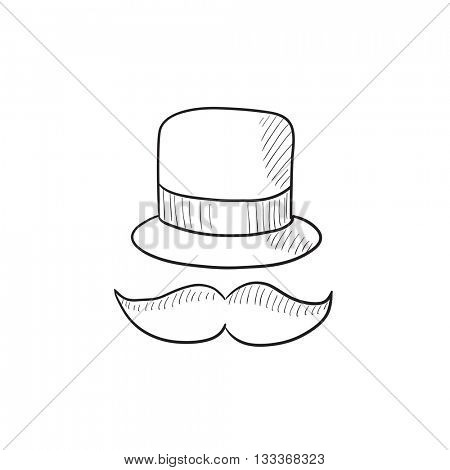 Hat and mustache vector sketch icon isolated on background. Hand drawn Hat and mustache icon. Hat and mustache sketch icon for infographic, website or app.