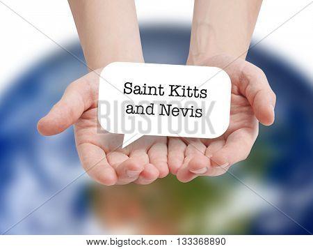 Saint Kitts and Nevis written on a speechbubble