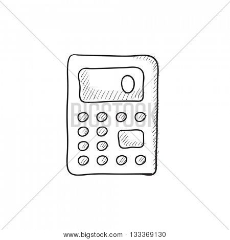 Calculator vector sketch icon isolated on background. Hand drawn Calculator icon. Calculator sketch icon for infographic, website or app.
