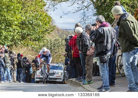 Conflans-Sainte-Honorine, France-March 6, 2016: The Norwegian cyclist Vegard Stake Laengen of IAM Cycling Team riding during the prologue stage of Paris-Nice 2016.