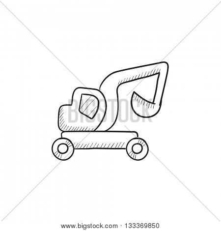 Excavator truck vector sketch icon isolated on background. Hand drawn Excavator truck icon. Excavator truck sketch icon for infographic, website or app.
