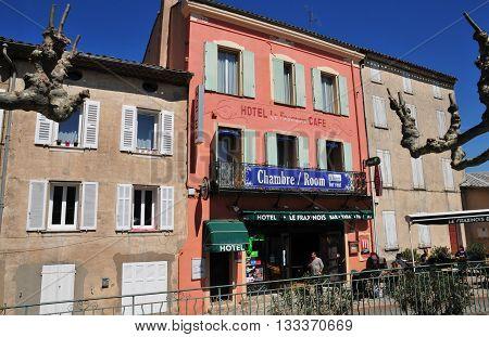 La Garde Freinet France - april 16 2016 : hotel in the picturesque village in spring