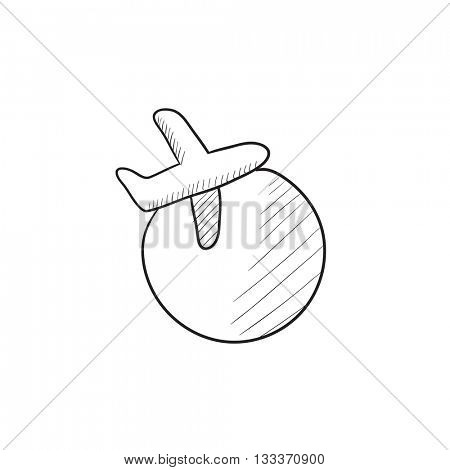 Travel by plane vector sketch icon isolated on background. Hand drawn Travel by plane icon. Travel by plane sketch icon for infographic, website or app.