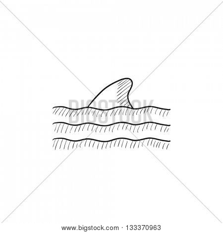 Dorsal shark fin above water vector sketch icon isolated on background. Hand drawn Dorsal shark fin above water icon. Dorsal shark fin above water sketch icon for infographic, website or app.