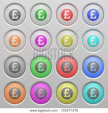 Set of Pound sticker plastic sunk spherical buttons.