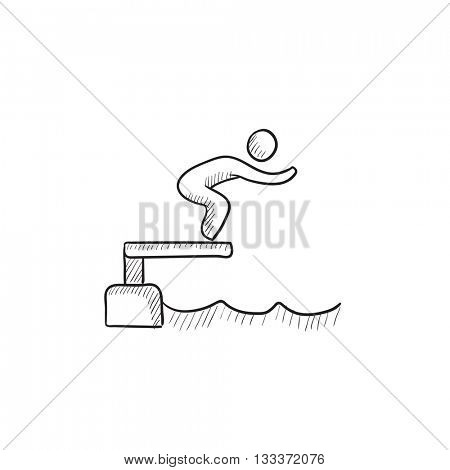 Swimmer jumping from starting block in pool vector sketch icon isolated on background. Hand drawn Swimmer jumping in pool icon. Swimmer jumping in pool sketch icon for infographic, website or app.