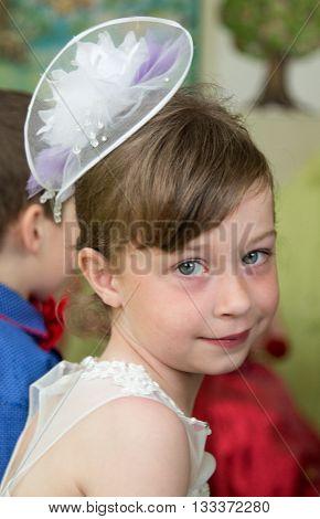 LUTSK UKRAINE - MAY 31 - Girl in Ukrainian nursery school before graduation in Lutsk on May 31. 2016.