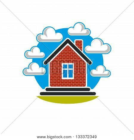 Simple house vector illustration over beautiful landscape with blue sky and fluffy clouds.