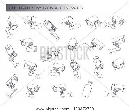 Big set Surveillance Camera Line Icon  isolated on white background vector illustration.  video cam symbol.
