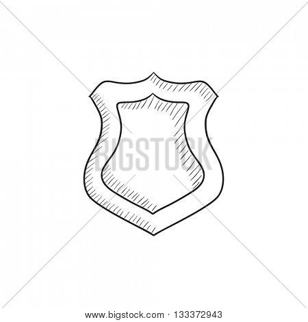 Police badge vector sketch icon isolated on background. Hand drawn Police badge icon. Police badge sketch icon for infographic, website or app.