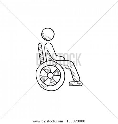 Disabled person vector sketch icon isolated on background. Hand drawn Disabled person icon. Disabled person sketch icon for infographic, website or app.