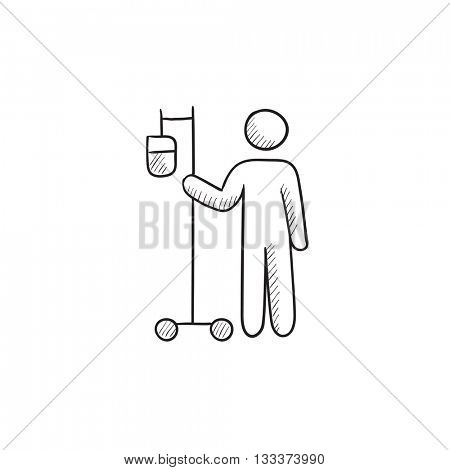 Patient and intravenous dropper vector sketch icon isolated on background. Hand drawn Patient and intravenous dropper icon. Patient and intravenous dropper sketch icon for infographic, website or app.
