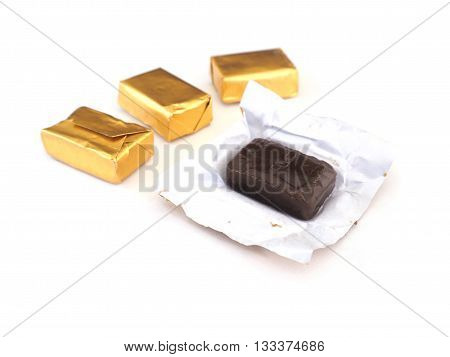 Toffee and gold wrapper packaging on white background