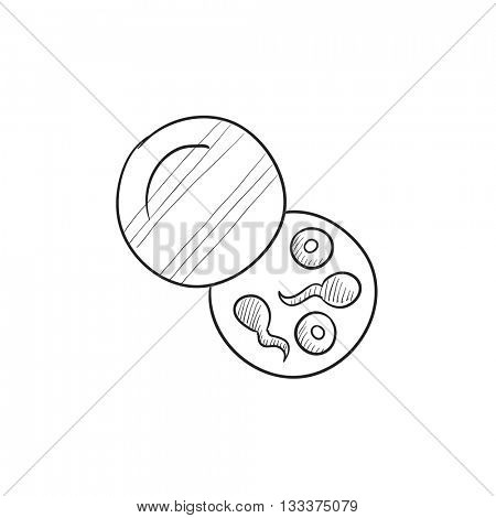 Donor sperm vector sketch icon isolated on background. Hand drawn Donor sperm icon. Donor sperm sketch icon for infographic, website or app.