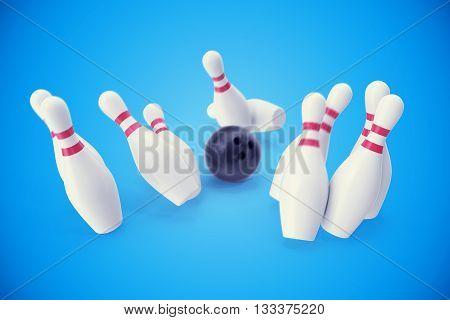 Bowling game, black bowling ball crashing into the skittles, 3d illustration