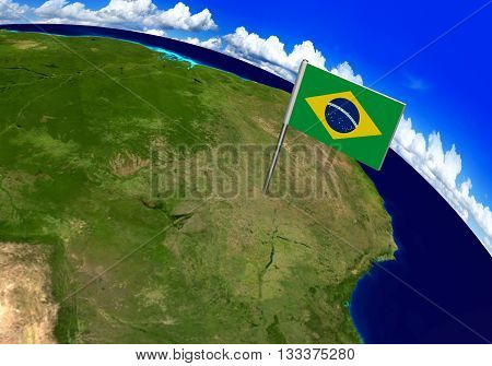 Flag marker over country of Brazil on world map 3D rendering, parts of this image furnished by NASA